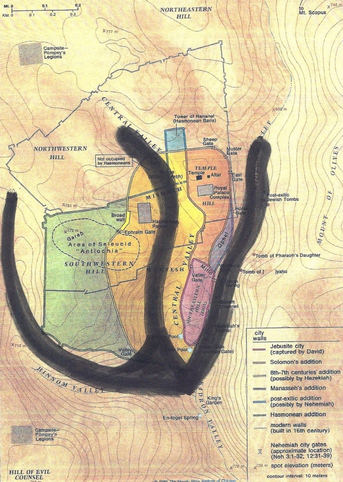 "Ancient Jerusalem on a map, marked to see the ""shin"" ... the first Hebrew letter in ""Shaddai"" - Hebrew for God."